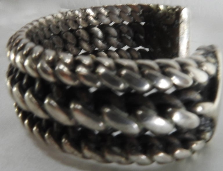 Vintage Braided Sterling Silver Cuff Bracelet In Good Condition For Sale In Cookeville, TN