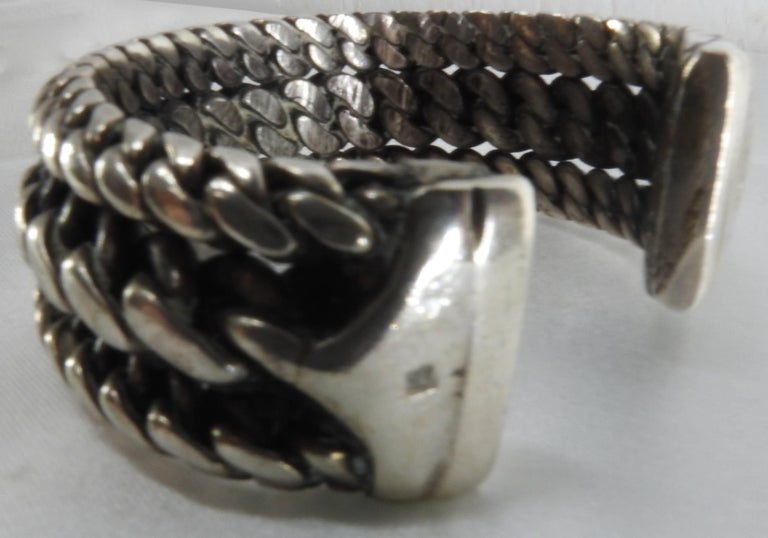 Hand-Crafted Vintage Braided Sterling Silver Cuff Bracelet For Sale