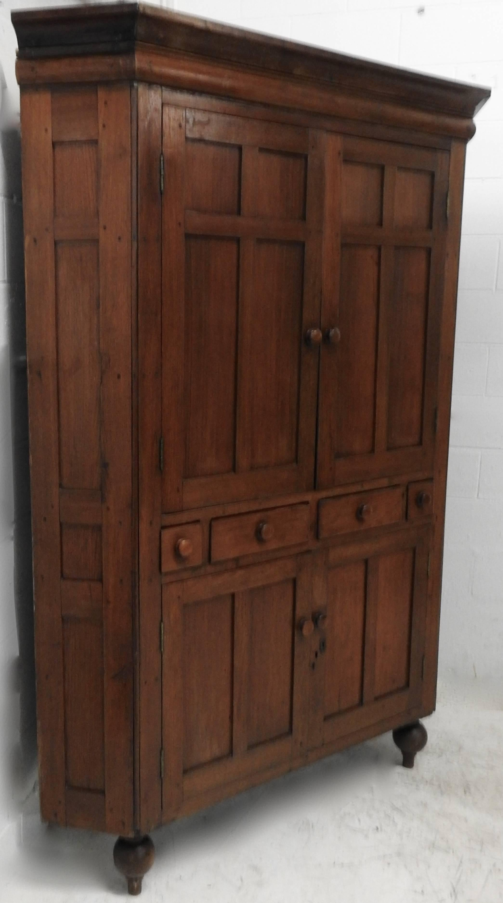 We Are Offering A New England Classic Corner Cabinet Made Primarily Of  Walnut With Some Cherry