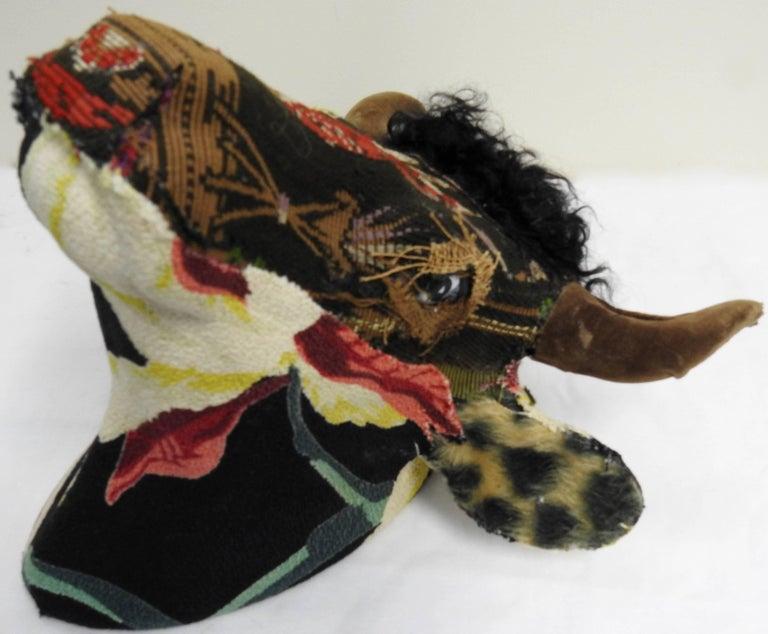 Glazed Folk Art Porcelain Bull with Vintage & Antique Textiles For Sale