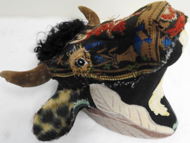 American Folk Art Porcelain Bull with Vintage & Antique Textiles For Sale