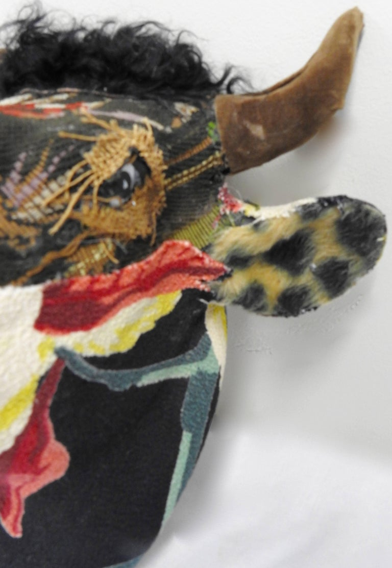 Folk Art Porcelain Bull with Vintage & Antique Textiles For Sale 1