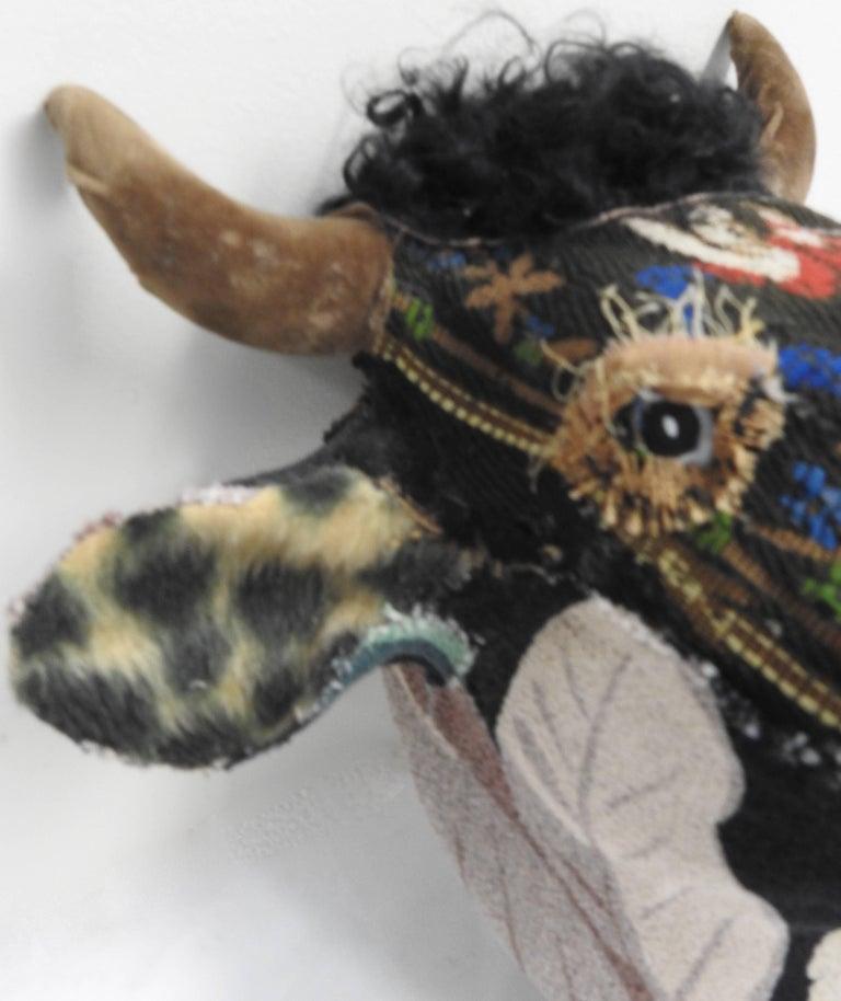 Folk Art Porcelain Bull with Vintage & Antique Textiles For Sale 2