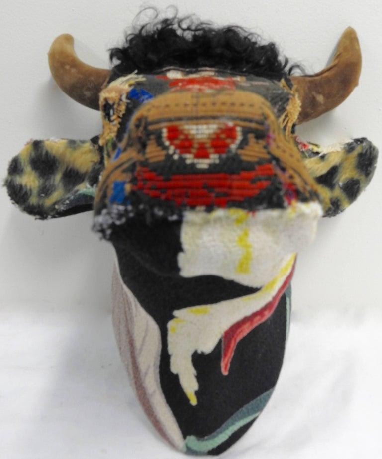 Folk Art Porcelain Bull with Vintage & Antique Textiles For Sale 3