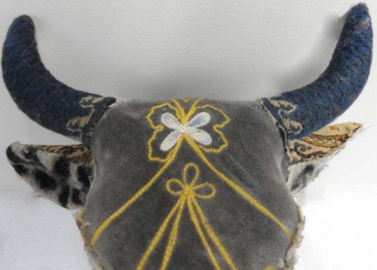Folk Art Porcelain Heifer with Vintage & Antique Textiles In Excellent Condition For Sale In Cookeville, TN