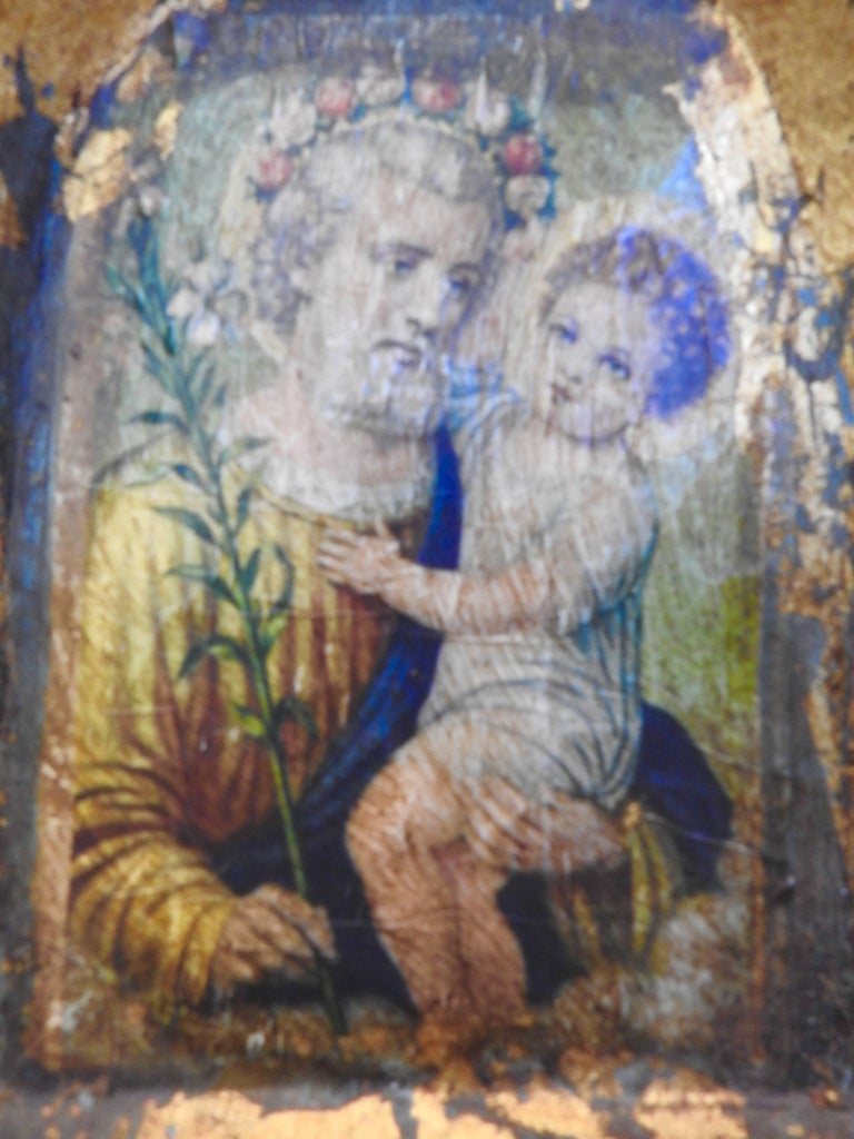 Italian Hand-Carved Wooden Frame with Saint and Baby For Sale