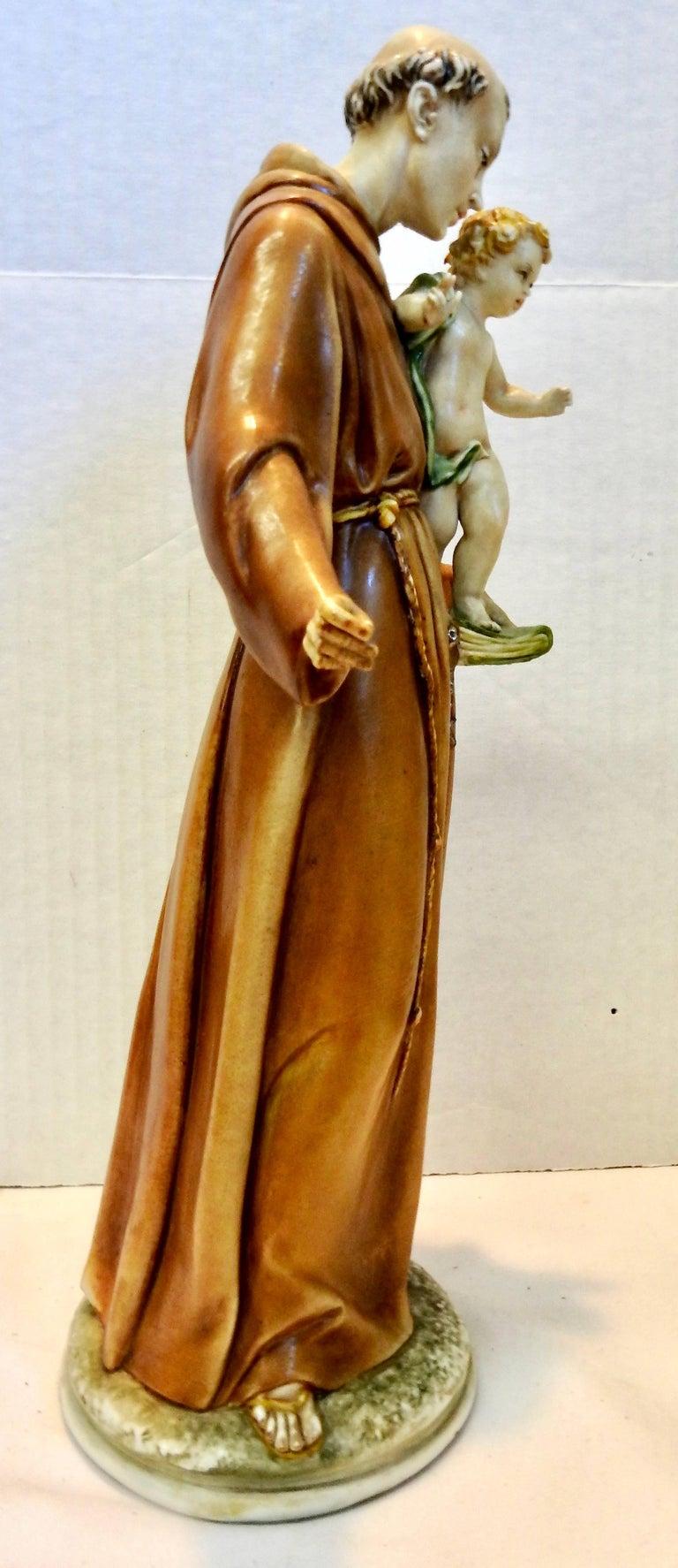 Italian Midcentury Porcelain Saint Anthony by Antonia Borsato For Sale