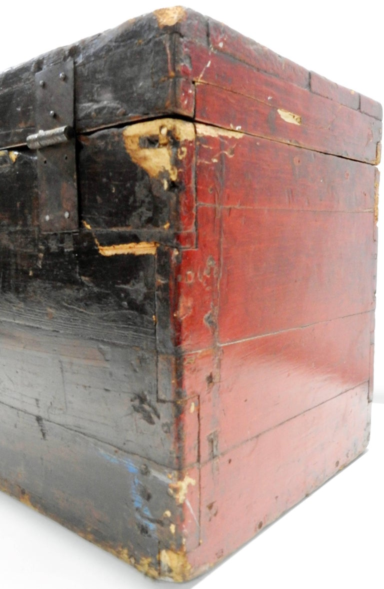 Iron Chinese Storage Chest Hand Painted, Late 19th Century For Sale