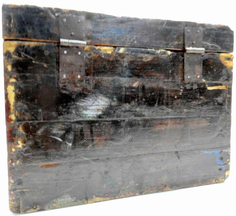 Forged Chinese Storage Chest Hand Painted, Late 19th Century For Sale