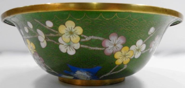 20th Century Cloisonné Bowl with Floral Details Midcentury For Sale