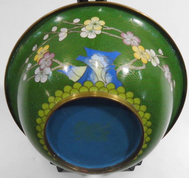 Chinese Cloisonné Bowl with Floral Details Midcentury For Sale