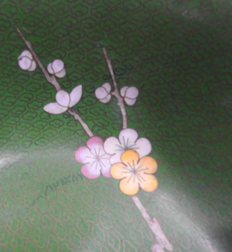 Brass Cloisonné Bowl with Floral Details Midcentury For Sale