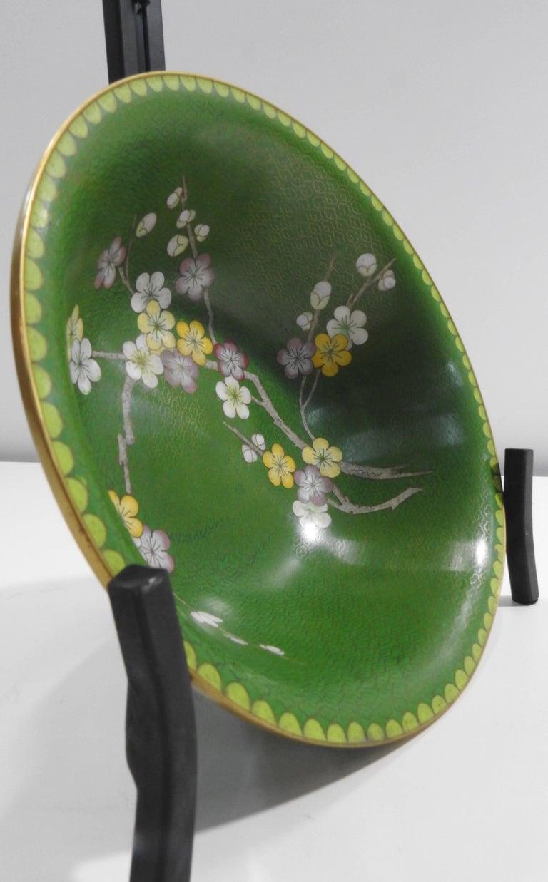Cloisonné Bowl with Floral Details Midcentury For Sale 1