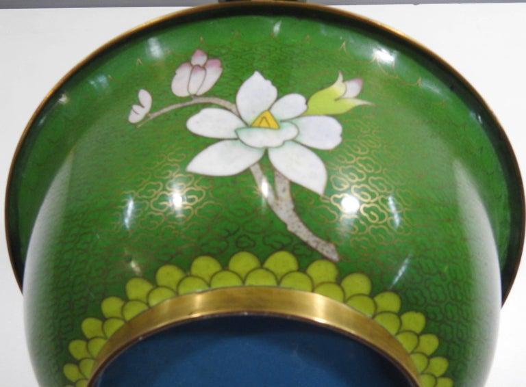 Cloissoné Cloisonné Bowl with Floral Details Midcentury For Sale
