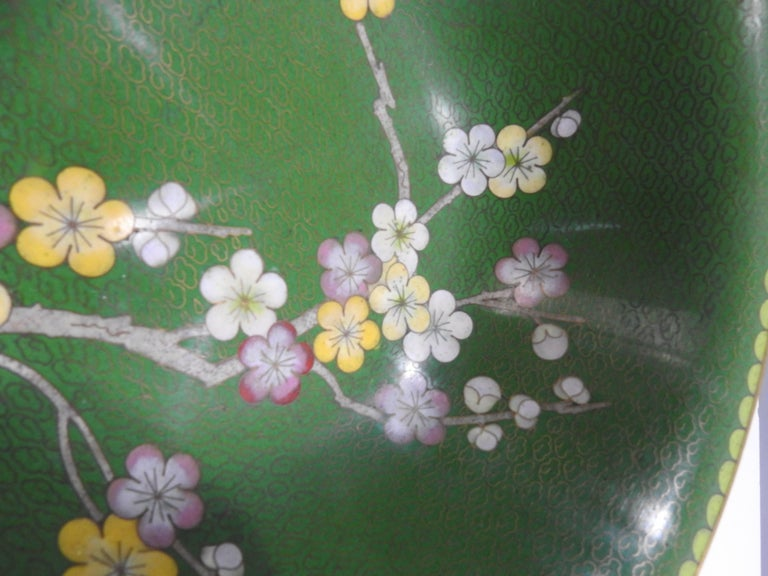 Chinese Export Cloisonné Bowl with Floral Details Midcentury For Sale