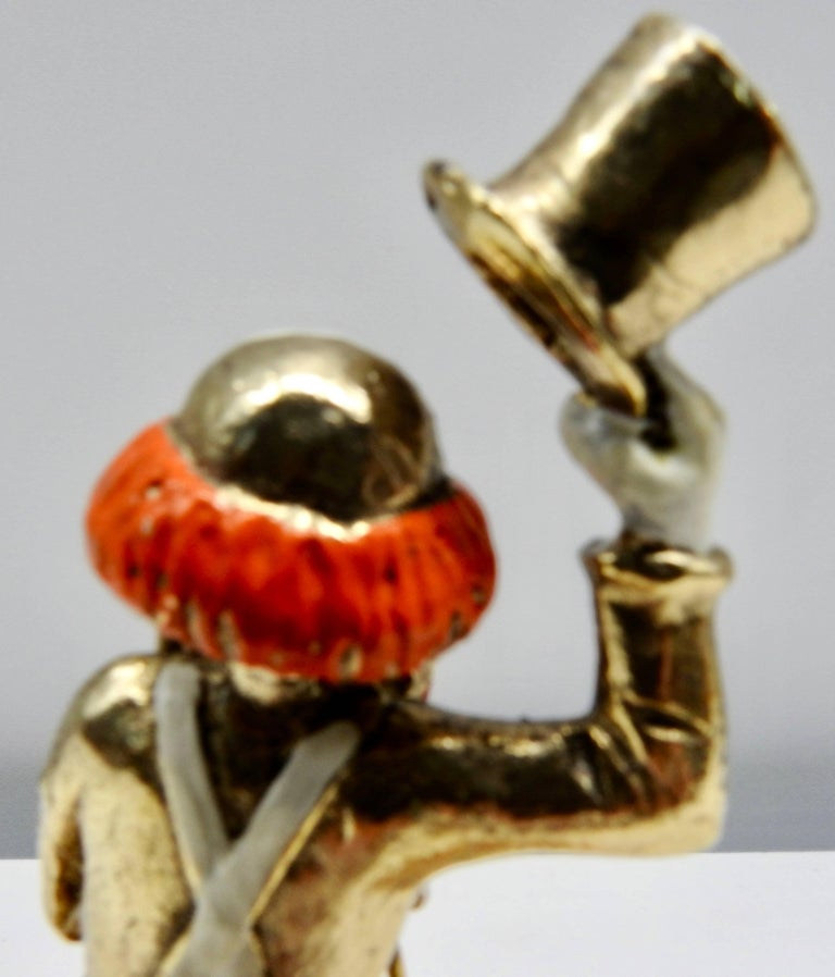 Gold Plate Clown Sculpture with Cane and Top Hat by Ron Lee, 1979 For Sale