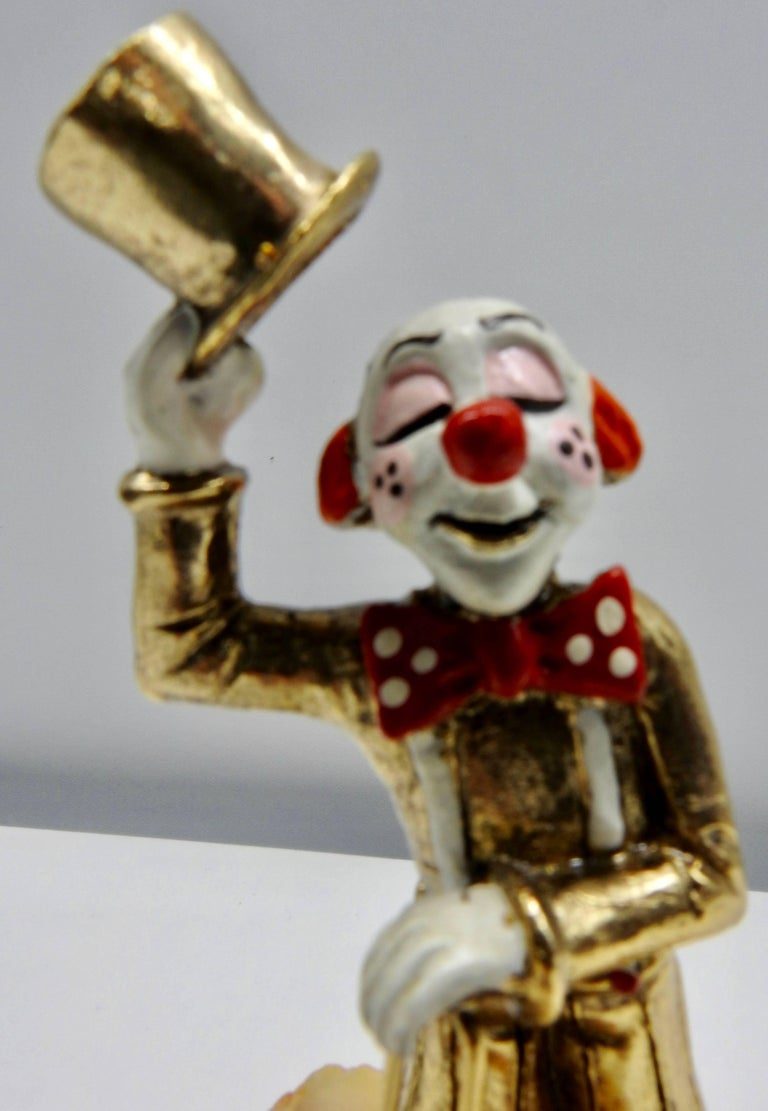 Clown Sculpture with Cane and Top Hat by Ron Lee, 1979 In Good Condition For Sale In Cookeville, TN