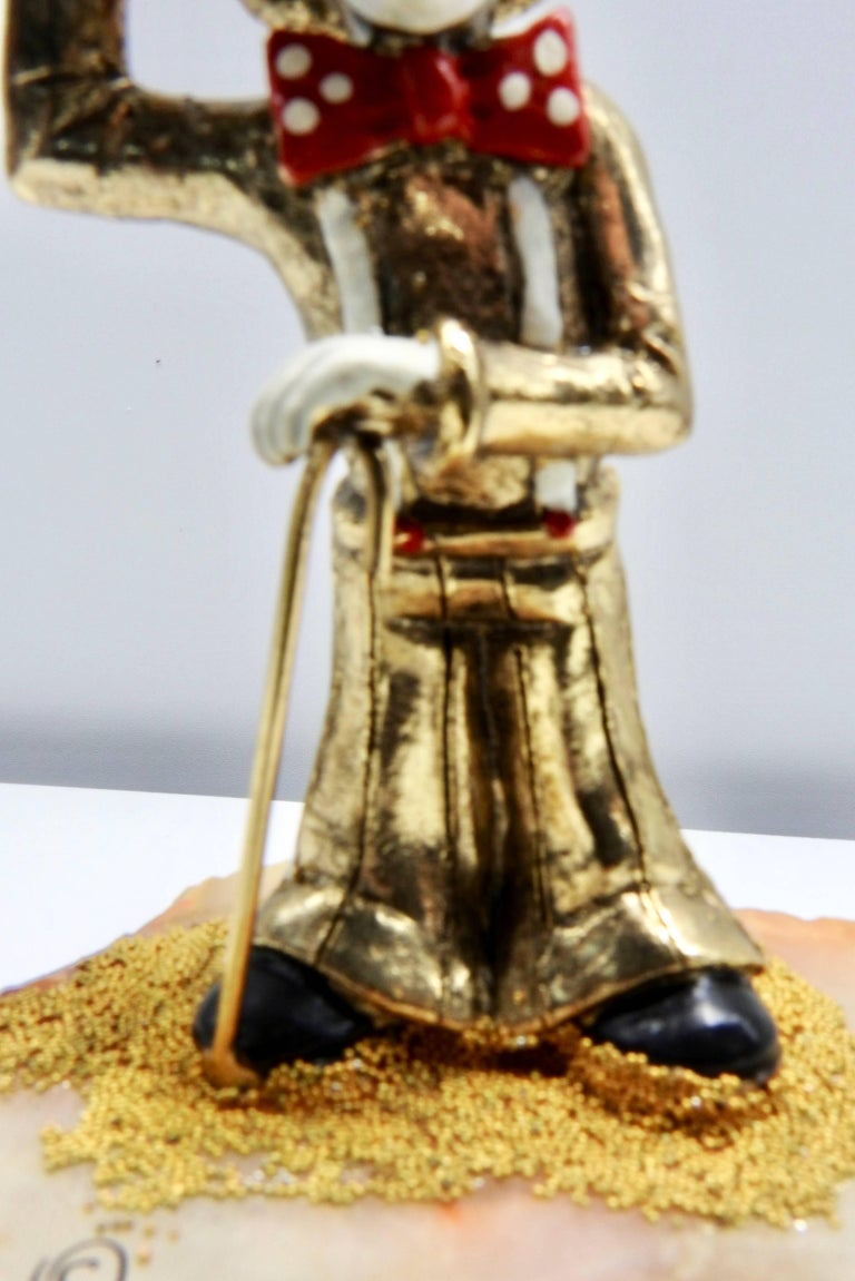 Cast Clown Sculpture with Cane and Top Hat by Ron Lee, 1979 For Sale