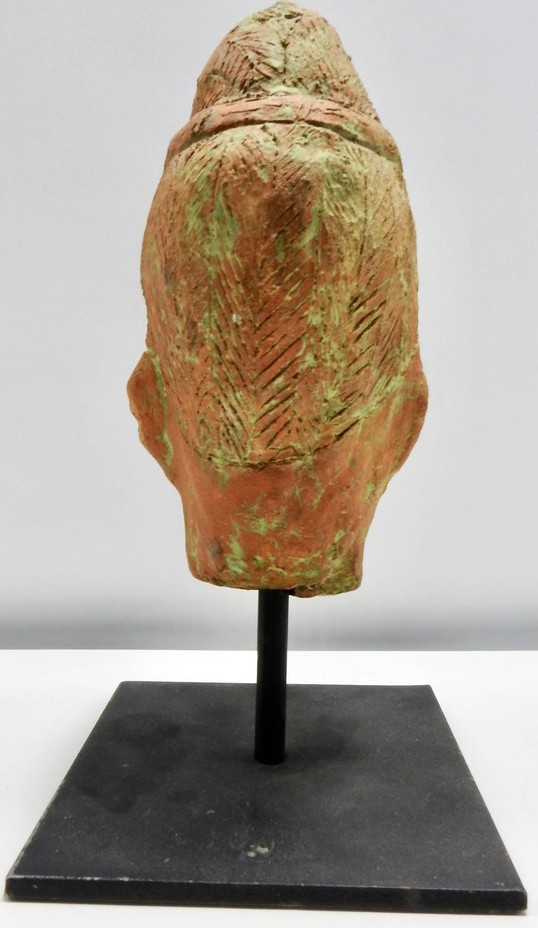 Fired Terracotta Sculpture of Head Thailand For Sale