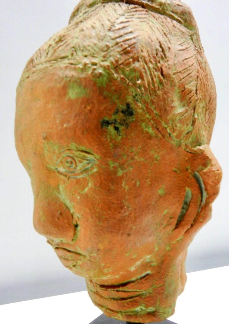 20th Century Terracotta Sculpture of Head Thailand For Sale