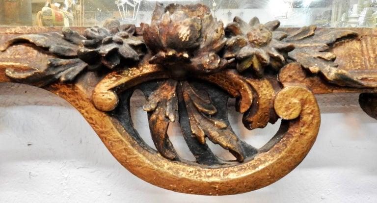 French Provincial French Flower Basket Mirror For Sale