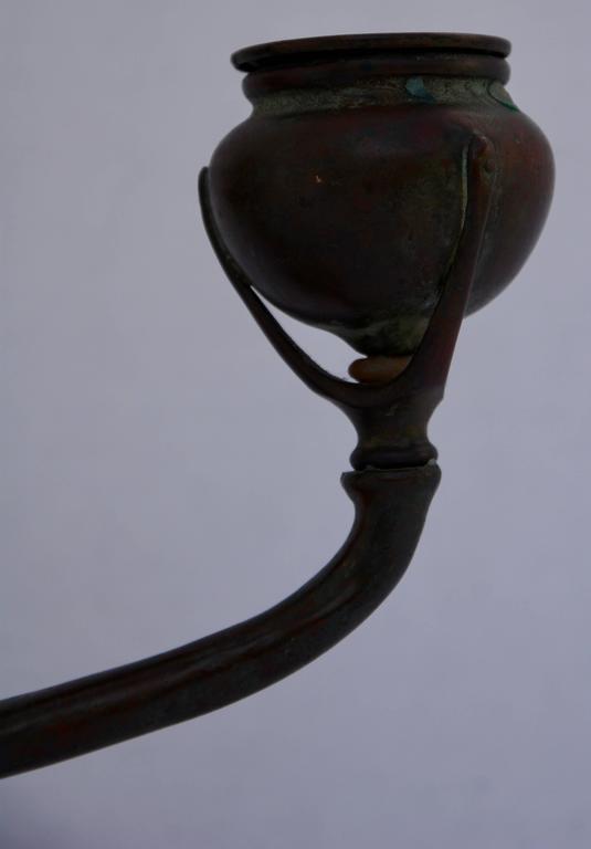 Art Nouveau 20th Century Louis Tiffany Bronze Candlestick For Sale