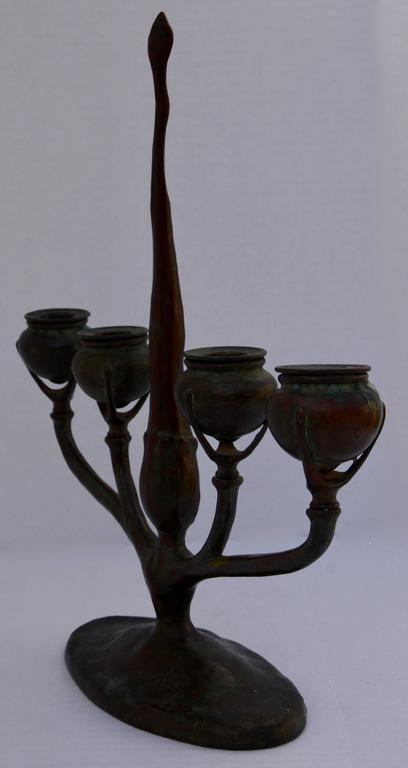 American 20th Century Louis Tiffany Bronze Candlestick For Sale