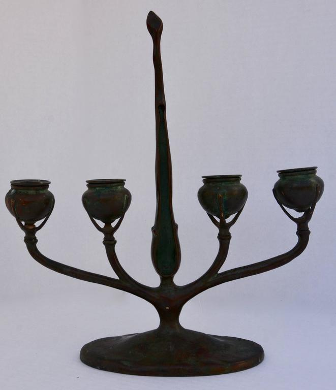 Metalwork 20th Century Louis Tiffany Bronze Candlestick For Sale