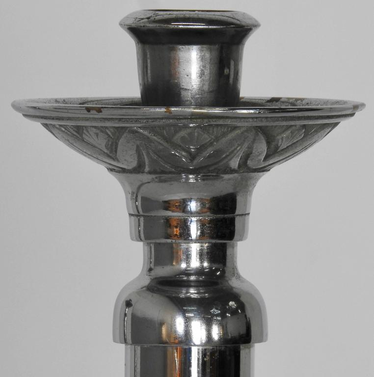 Art Nouveau Silver Plated Altar Candlesticks, Pair For Sale
