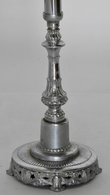 Italian Silver Plated Altar Candlesticks, Pair For Sale