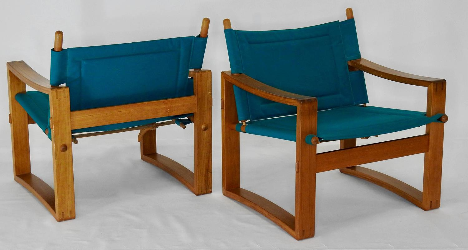 Pair of Mid Century Teal Lounge Chairs with Leather Straps For Sale at 1stdibs