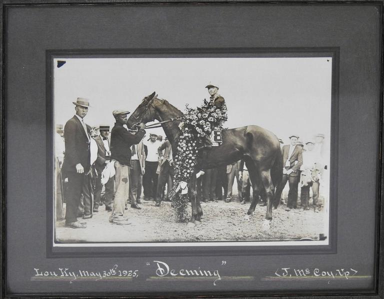 Features is a stunning 1925 sterling silver Latonia horse race cup. The Latonia race track is located in Latonia, Kentucky, six miles south of Cincinnati and was once regarded as one of the premier horse racing tracks in the United States. This cup