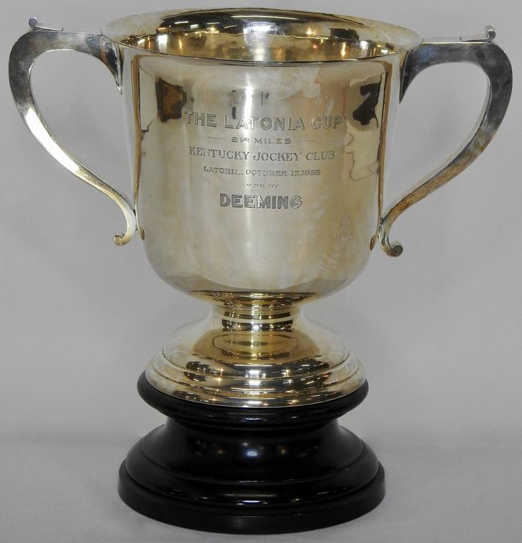 Art Deco Sterling Silver 1925 Kentucky Latonia Horse Race Cup For Sale