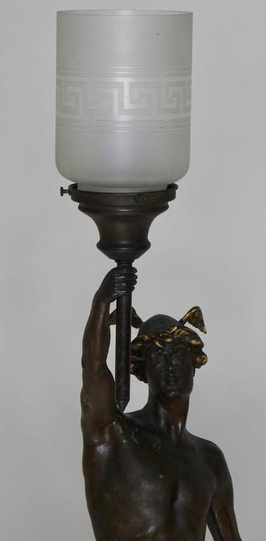 Art Nouveau Hermès Statue Lamp with Greek Key Glass Shade For Sale