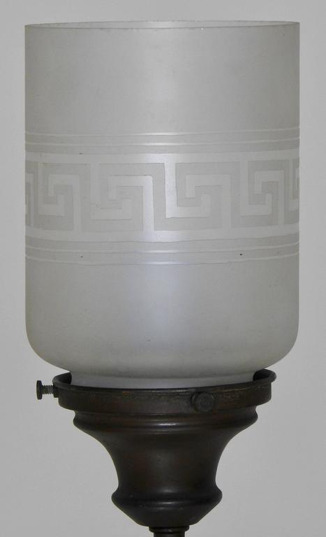 Hermès Statue Lamp with Greek Key Glass Shade For Sale 1