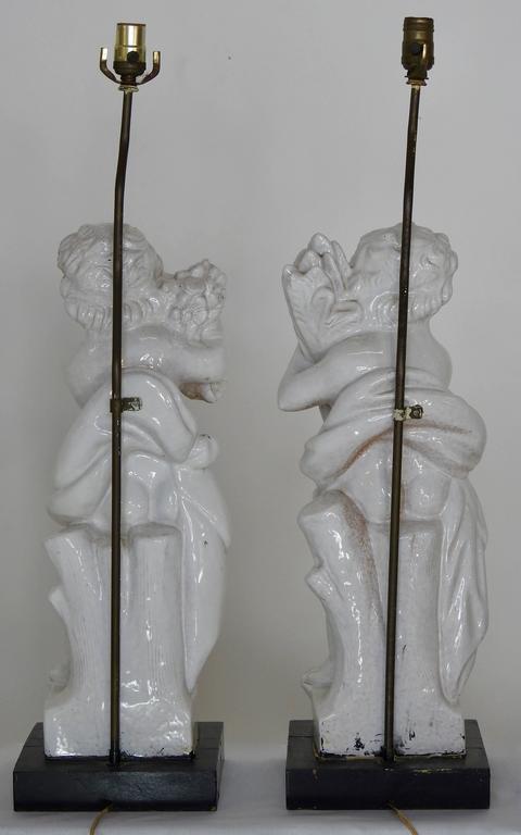 White Glazed Terracotta Cherub Lamps on Wooden Bases, Pair For Sale 2