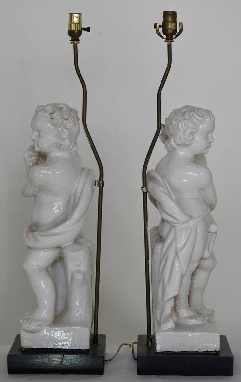 White Glazed Terracotta Cherub Lamps on Wooden Bases, Pair For Sale 3