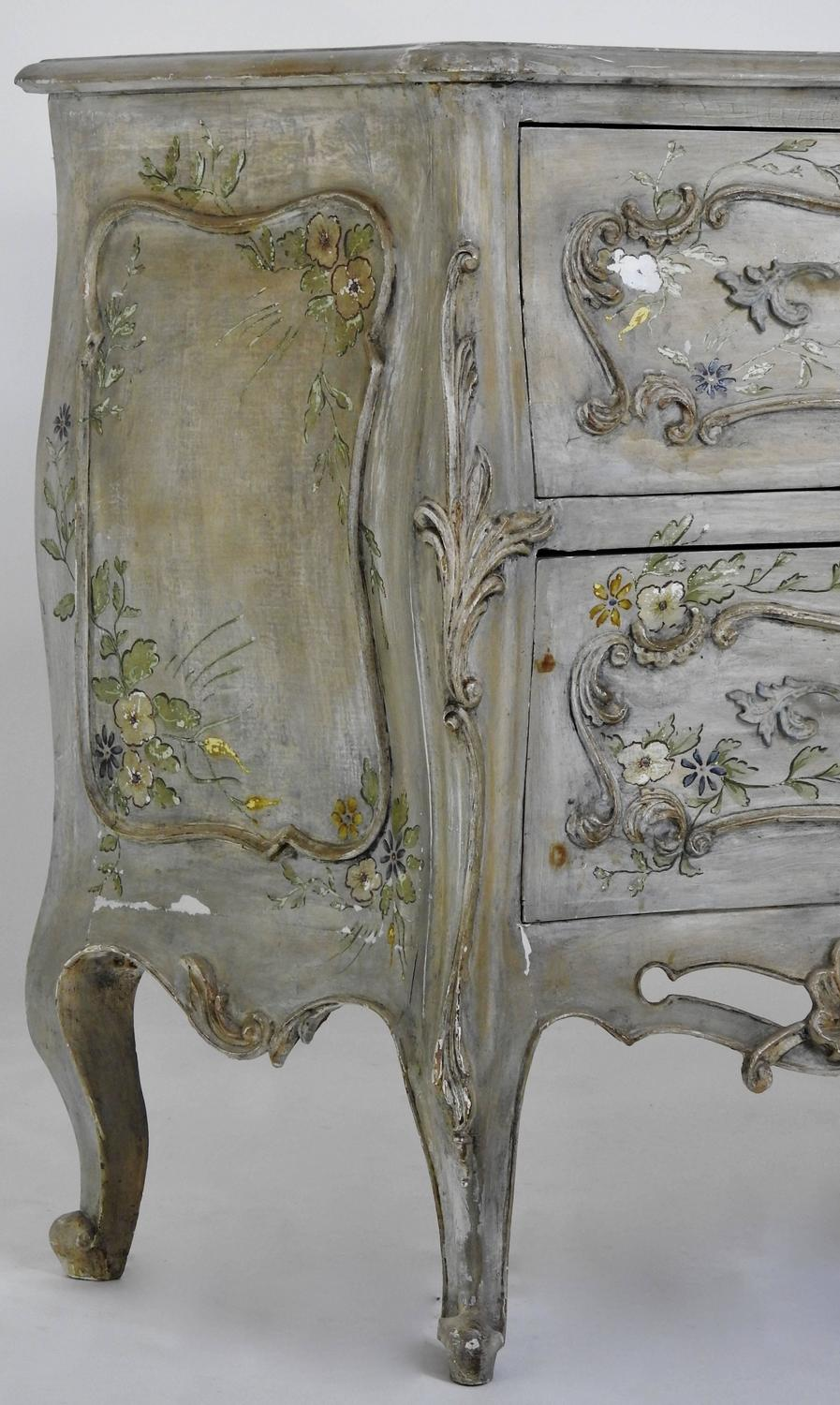 Italian decorated bombe chest hand painted for sale at 1stdibs for Hand painted chests