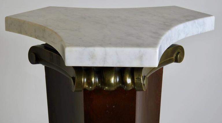 Mahogany and Bronze Marble Top Pedestal Art Deco In Good Condition For Sale In Cookeville, TN