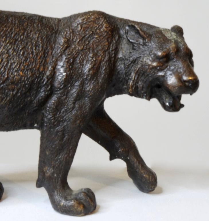 Art Nouveau Early 20th Century Cast Bronze Tiger For Sale