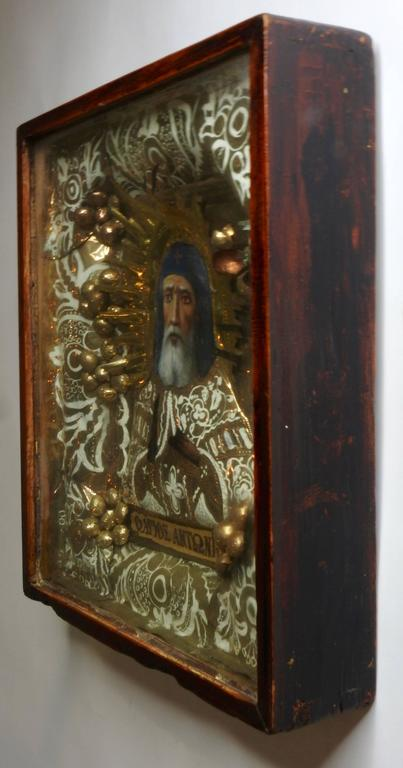 Hellenistic Greek Orthodox Icon of St Anthony For Sale