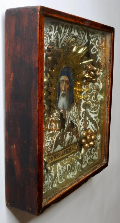 Hand-Crafted Greek Orthodox Icon of St Anthony For Sale