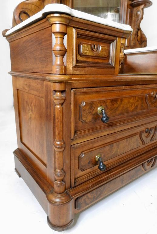 19th Century Victorian Gentleman's Dresser with Marble Tops For Sale