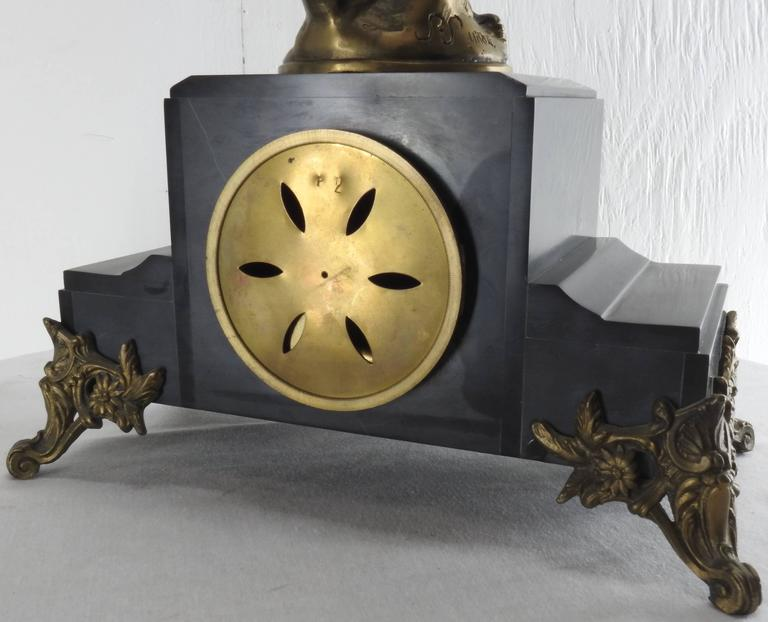Art Deco French Clock with Bronze Figure Signed S. Suirat For Sale