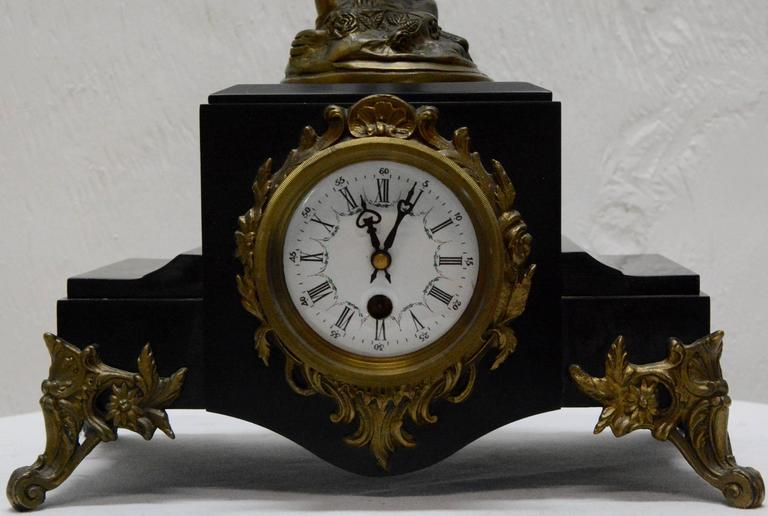 19th Century French Clock with Bronze Figure Signed S. Suirat For Sale