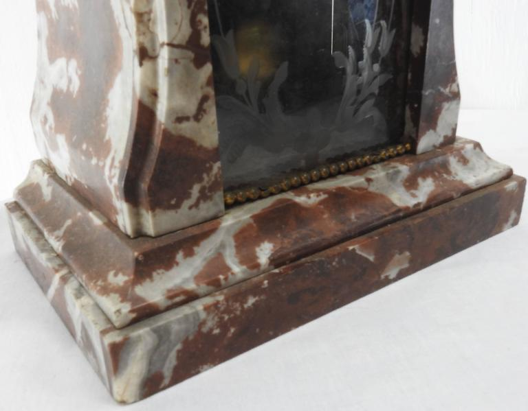 French Art Deco Marble Mantel Clock and Pedestals For Sale 2
