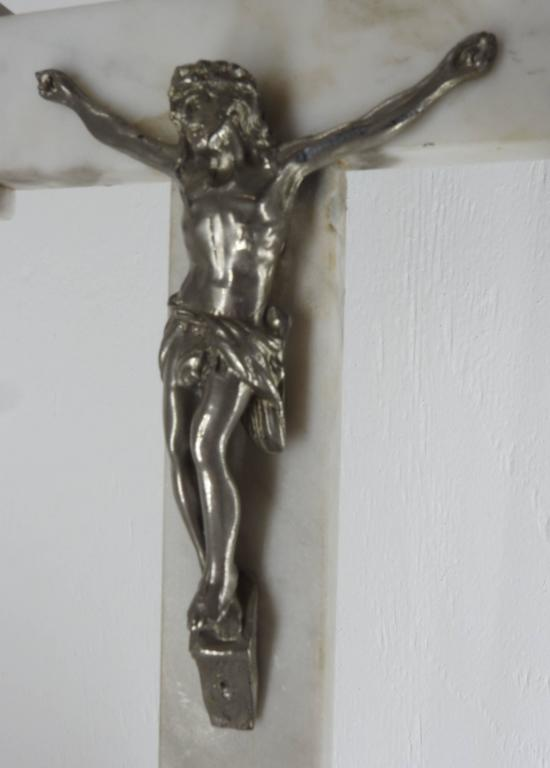 Carved INRI Marble Crucifix with Jesus Christ  Late 19th Century For Sale