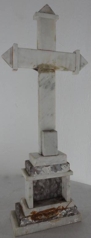 Metal INRI Marble Crucifix with Jesus Christ  Late 19th Century For Sale