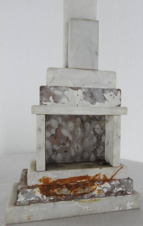Metal Marble INRI Crucifix, Late 19th Century