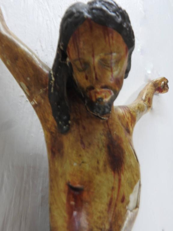 Renaissance Italian Polychromed Crucifix For Sale